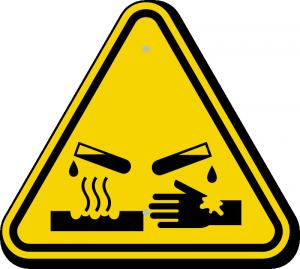 Corrosive hazarduous symbol